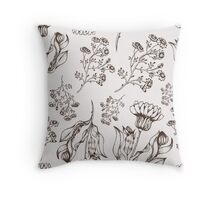 Medicine herb vector seamless nature pattern. Hand drawing sketch illustration Throw Pillow