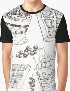 Vectorhand drawing dessert bakery illustration. Sweet food sketch seamless pattern Graphic T-Shirt