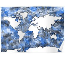 world map watercolor 7 Poster