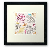 Vectorhand drawing dessert bakery illustration. Sweet food sketch seamless pattern Framed Print