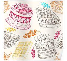 Vectorhand drawing dessert bakery illustration. Sweet food sketch seamless pattern Poster