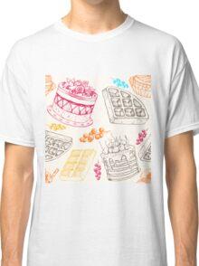 Vectorhand drawing dessert bakery illustration. Sweet food sketch seamless pattern Classic T-Shirt