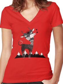 Singing Deer of the Shaggy Mountains Women's Fitted V-Neck T-Shirt