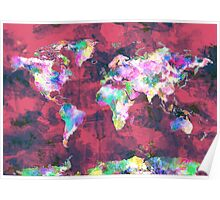 world map watercolor 8 Poster
