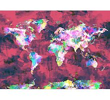 world map watercolor 8 Photographic Print