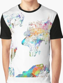 world map collage 4 Graphic T-Shirt