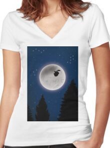 Beyond the sky Women's Fitted V-Neck T-Shirt