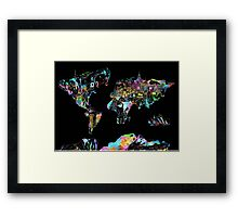 world map collage 5 Framed Print