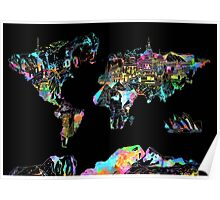 world map collage 5 Poster
