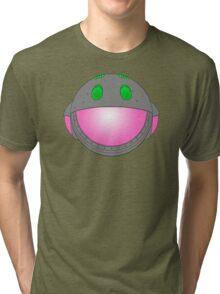 Heavy Metal Spaceship / Starship black outline, colour fill Tri-blend T-Shirt