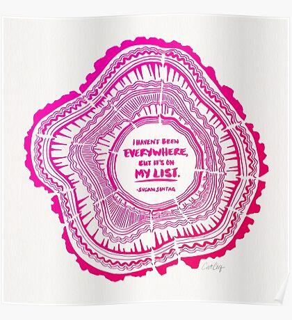 My List – Pink Ombré Ink Poster