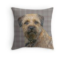 Border Terrier Dog On a Brown And Cream Background Throw Pillow