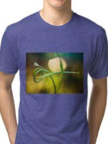 Blue Dragonfly sitting on garlic plant Tri-blend T-Shirt
