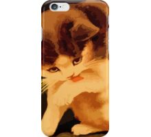 Brown and beige kitten painting iPhone Case/Skin