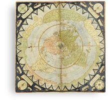 Flat Earth old map Canvas Print