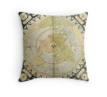 Flat Earth old map Throw Pillow