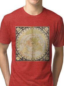 Flat Earth old map Tri-blend T-Shirt