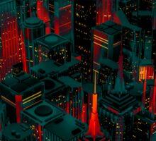 Night city glow cartoon Sticker