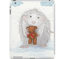 White Mouse With A Teddy Bear iPad Case/Skin