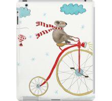 Koala Bear Riding Red Bike In Winter iPad Case/Skin