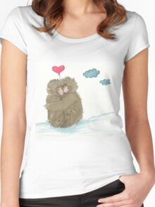 Hugging Snow Monkeys With a Heart Shape Balloon Women's Fitted Scoop T-Shirt
