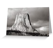 Devil's Tower Black and White Greeting Card