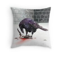 Crow, Bloody Snow Throw Pillow