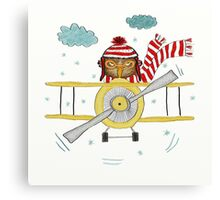 Crazy Owl Piloting Yellow Plane in Snow Storm Canvas Print