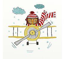 Crazy Owl Piloting Yellow Plane in Snow Storm Photographic Print
