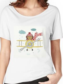 Crazy Owl Piloting Yellow Plane in Snow Storm Women's Relaxed Fit T-Shirt
