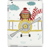 Crazy Owl Piloting Yellow Plane in Snow Storm iPad Case/Skin