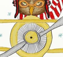 Crazy Owl Piloting Yellow Plane in Snow Storm Sticker