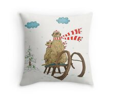 Meerkats Riding Sledge in Winter Countryside Throw Pillow