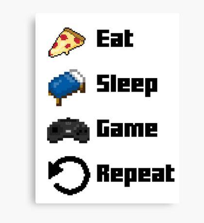 Eat, Sleep, Game, Repeat! 8bit Canvas Print