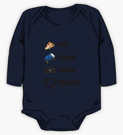 Eat, Sleep, Game, Repeat! 8bit One Piece - Long Sleeve