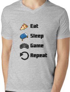 Eat, Sleep, Game, Repeat! 8bit Mens V-Neck T-Shirt