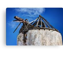 Old ruined windmill in Paros island Canvas Print