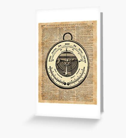 Barometer Vintage Tool Dictionary Art Greeting Card