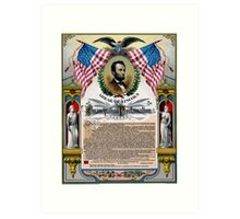 Unique Abraham Lincoln Emancipation Proclamation  Art Print