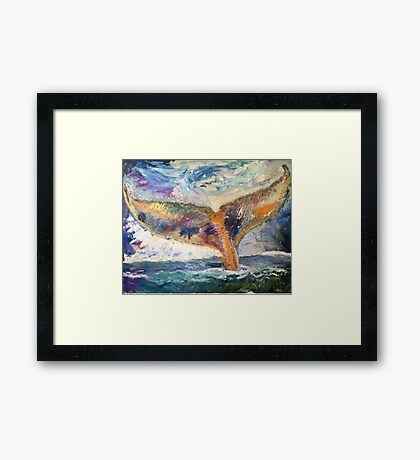 Whale Tail Colorful Framed Print