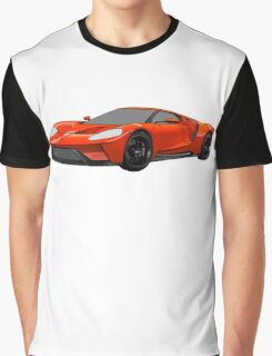 2016 Ford GT, Forza 6 Motorsport Game Cover Car, Black with Red colour Fill Graphic T-Shirt
