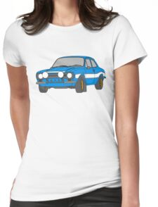 1970 Ford Escort RS2000 Fast and Furious Paul Walker's car Black Outline Colour fill. Womens Fitted T-Shirt
