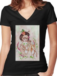 Frida the Mexican Women's Fitted V-Neck T-Shirt