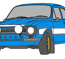 1970 Ford Escort RS2000 Fast and Furious Paul Walker's car Black Outline Colour fill. by Adamasage