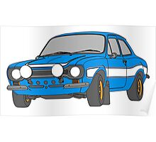 1970 Ford Escort RS2000 Fast and Furious Paul Walker's car Black Outline Colour fill. Poster