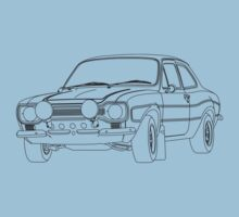 1970 Ford Escort RS2000 Fast and Furious Paul Walker's car Black Outline no fill. Baby Tee
