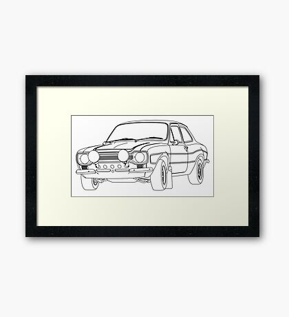 1970 Ford Escort RS2000 Fast and Furious Paul Walker's car Black Outline no fill. Framed Print