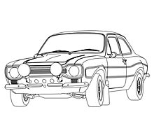 1970 Ford Escort RS2000 Fast and Furious Paul Walker's car Black Outline no fill. Photographic Print