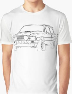 1970 Ford Escort RS2000 Fast and Furious Paul Walker's car Black Outline no fill. Graphic T-Shirt