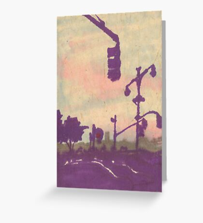 traffic light silhouette Greeting Card